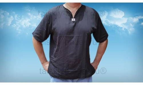 Мужская рубашка - марлевка ЧЕРНАЯ с коротким рукавом из Тайланда